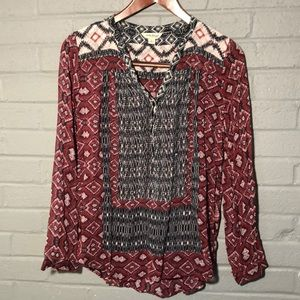 Lucky Brand tribal blouse. Small
